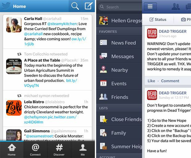 Twitter and Facebook for BlackBerry 10 OS
