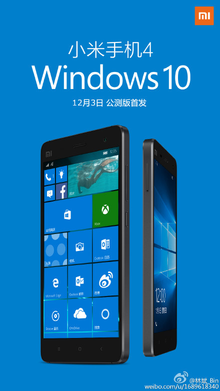 Xiaomi Mi4 Will Unveils The Wimdows 10 Mobile Version Tomorrow
